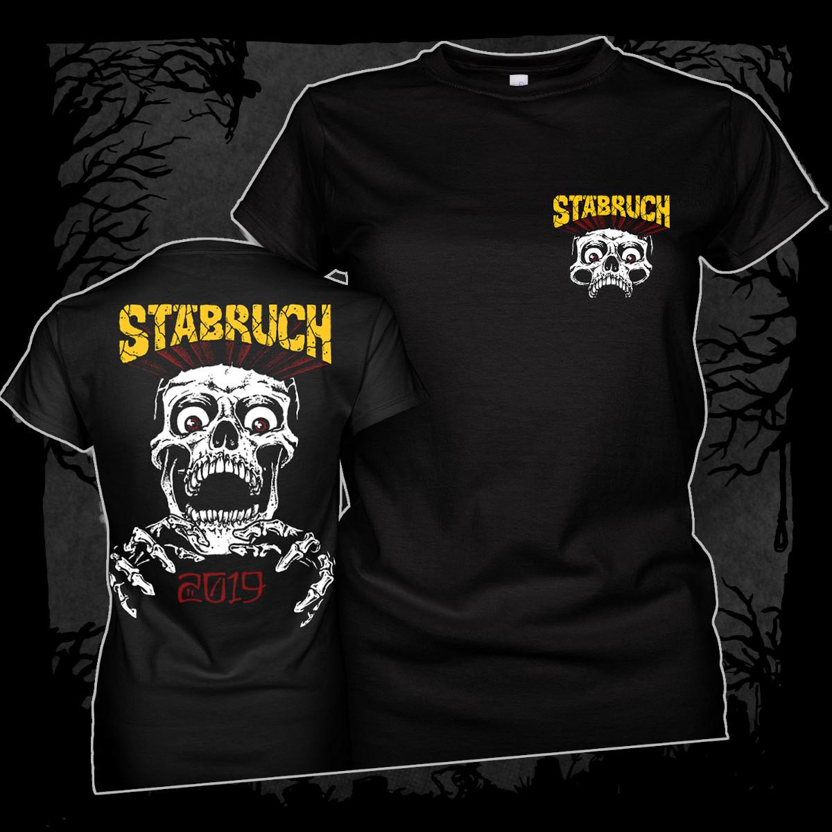 Stäbruch - 2019 [Girlie T-Shirt] (Farbe schwarz, Two-Sided-Print: weiß, gelb, rot)