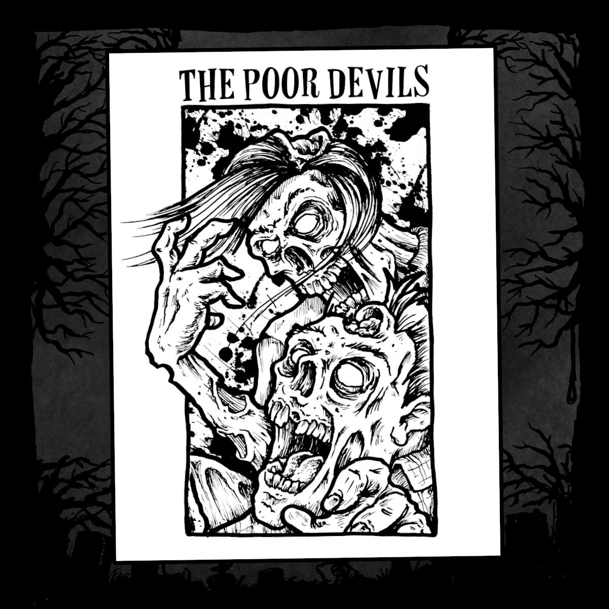 Backpatch - The Poor Devils - Skulls (Farbe weiß, Druck schwarz)