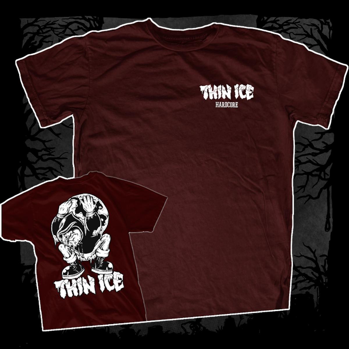 Thin Ice – Demo [T-Shirt] (Farbe: Weinrot   Print: weiß)