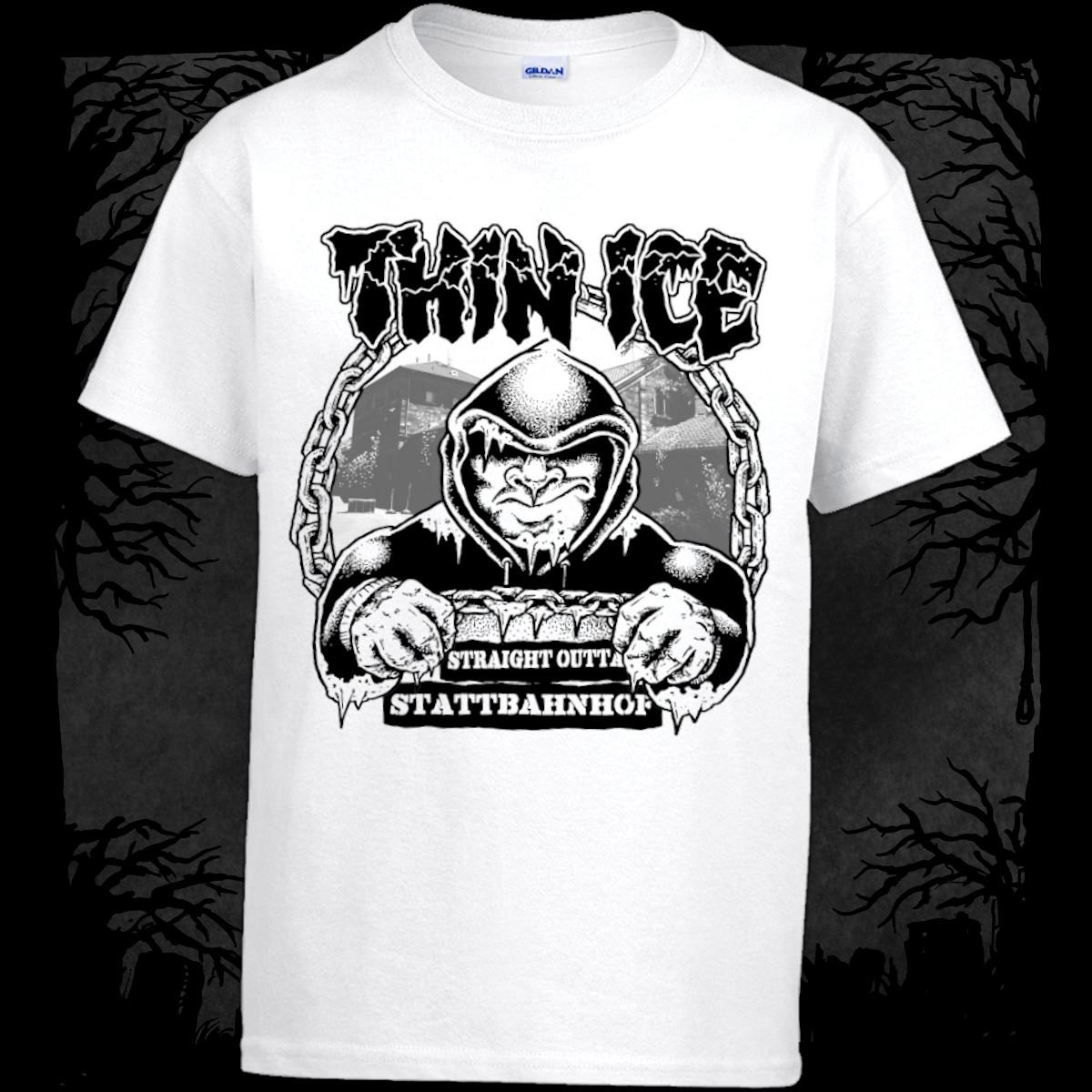 Thin Ice - Straight Outta Stattbahnhof [T-Shirt] (Farbe weiß:   Druck: schwarz)