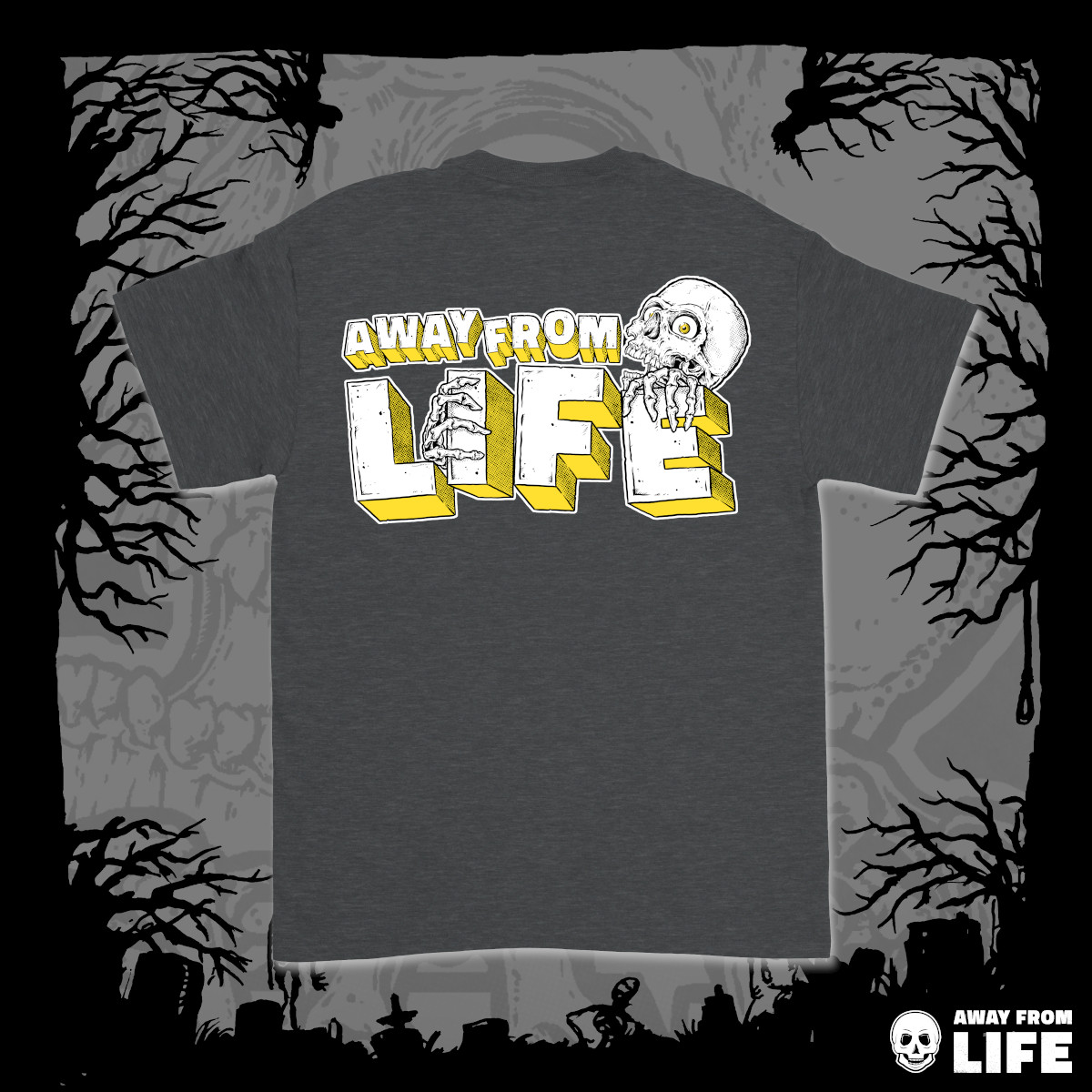 AWAY FROM LIFE - Reaper [dunkelgraues T-Shirt, Back]
