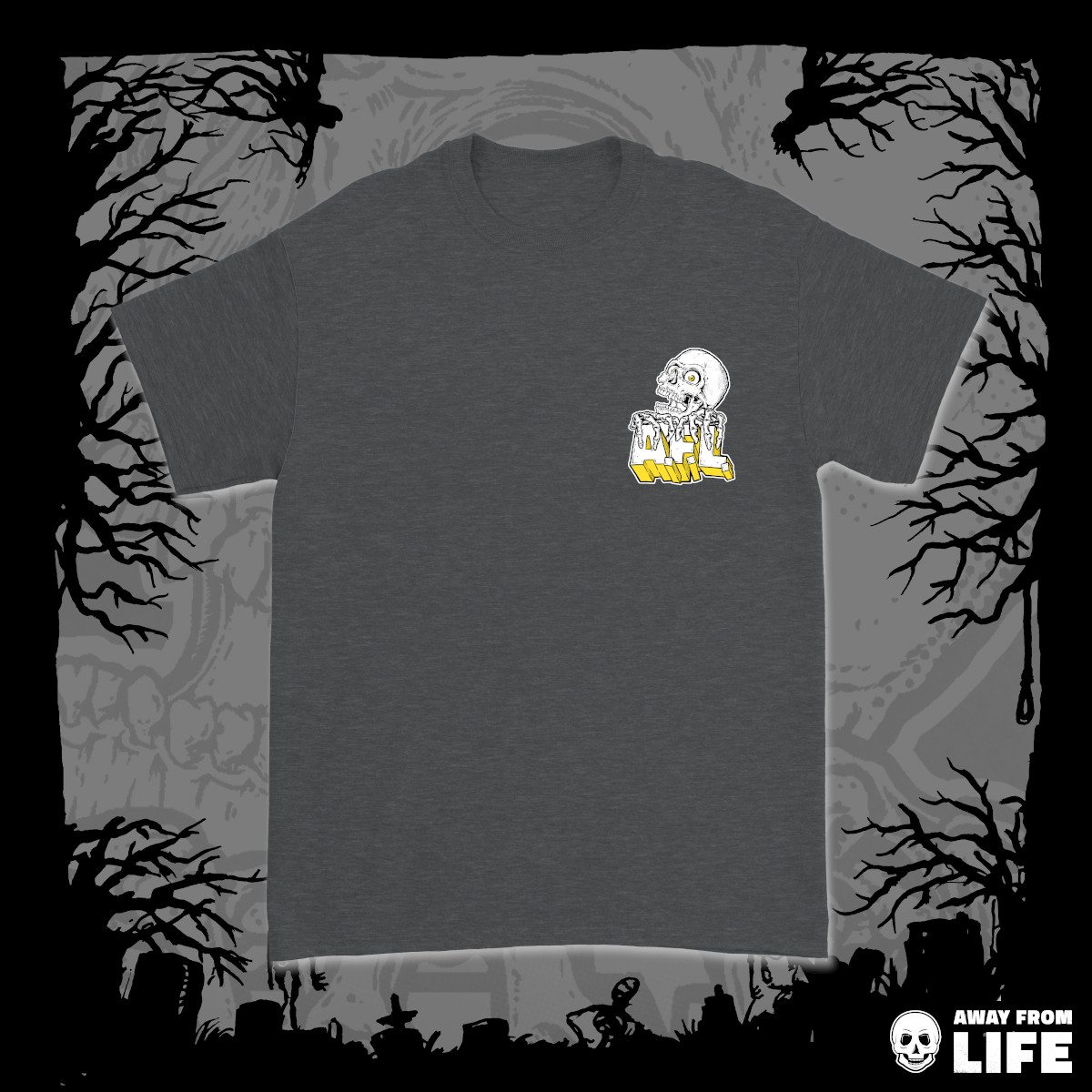 AWAY FROM LIFE - Reaper [dunkelgraues T-Shirt, Front]