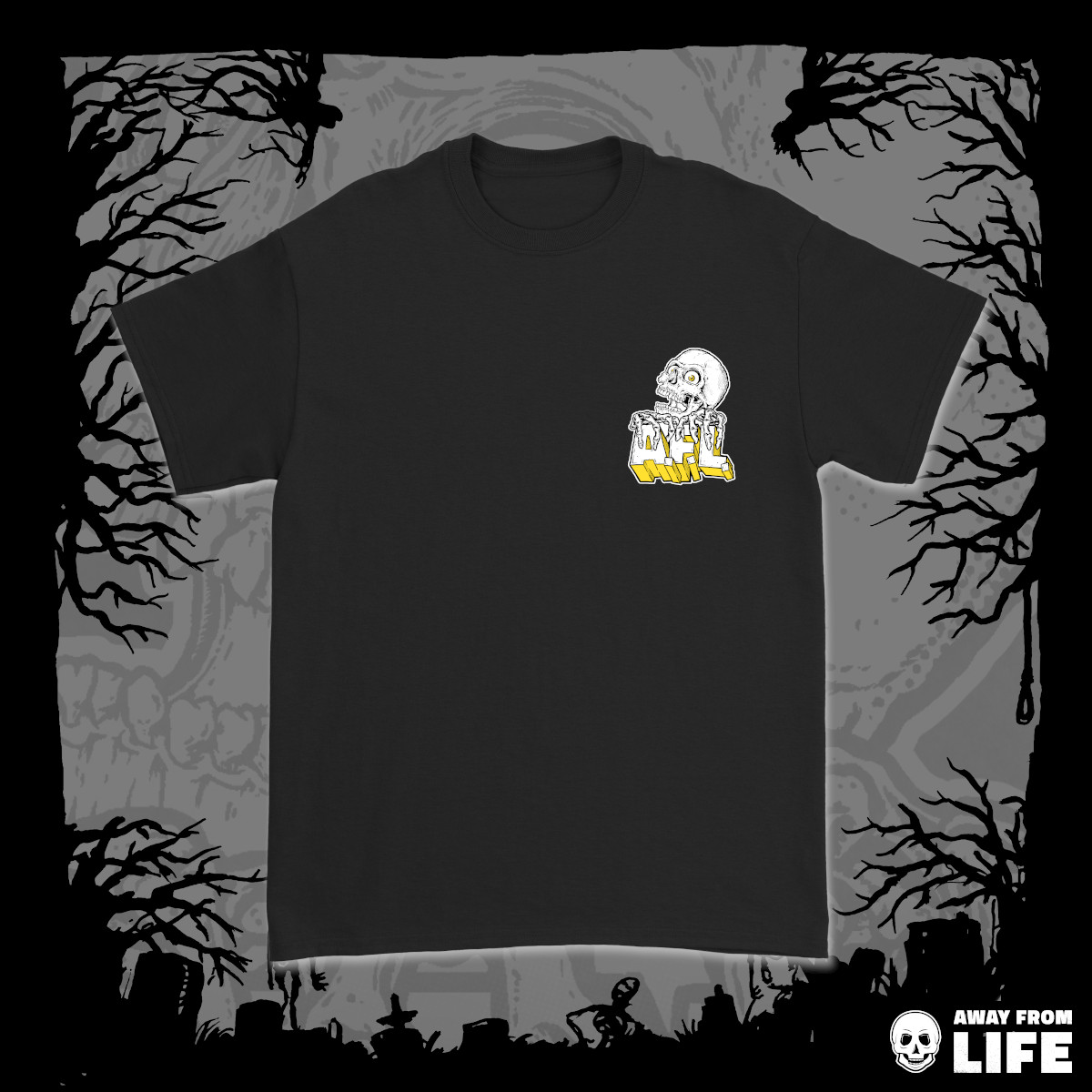 AWAY FROM LIFE - Reaper [schwarzes T-Shirt, Front]