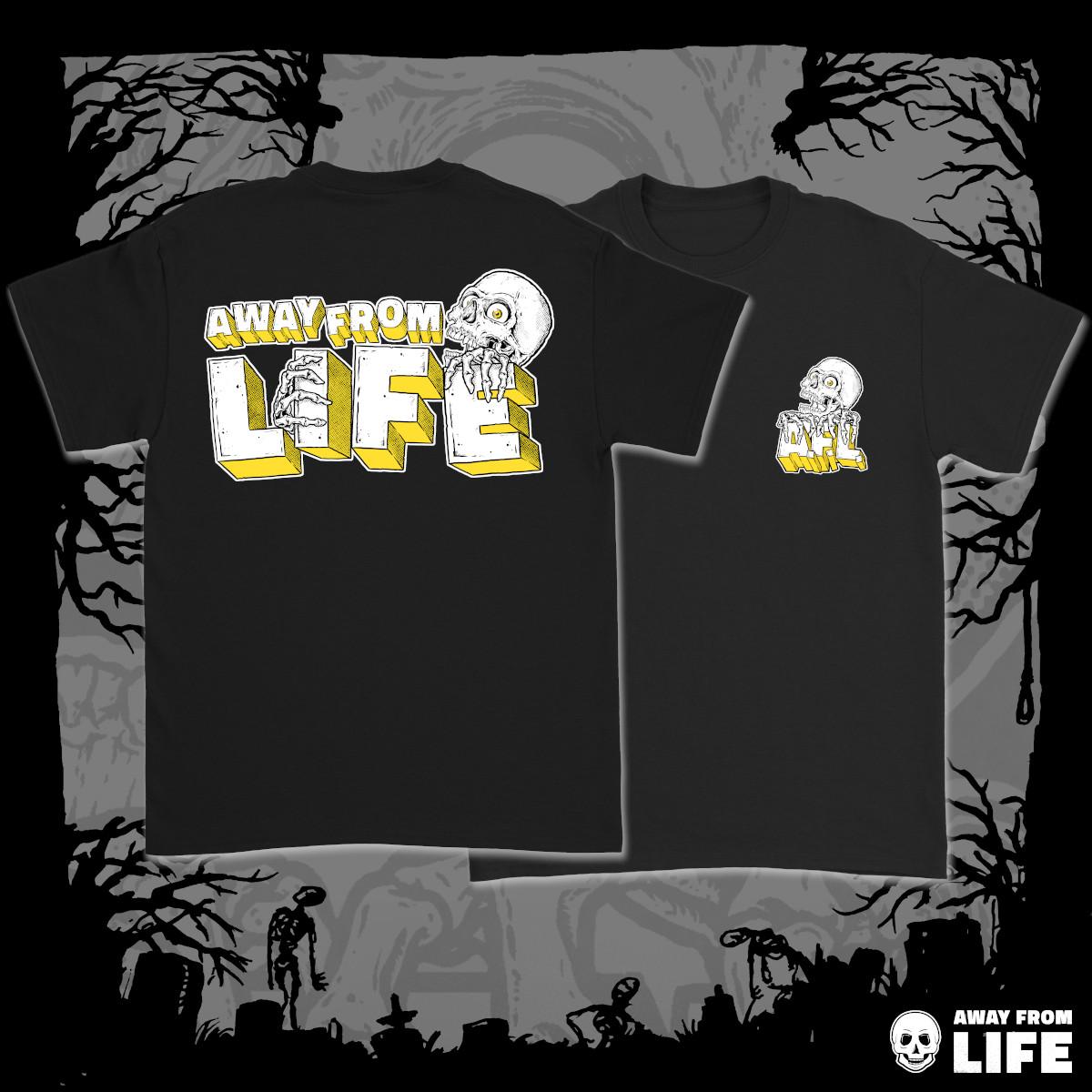 AWAY FROM LIFE - Reaper [schwarzes T-Shirt, zweiseitig mehrfarbig bedruckt]